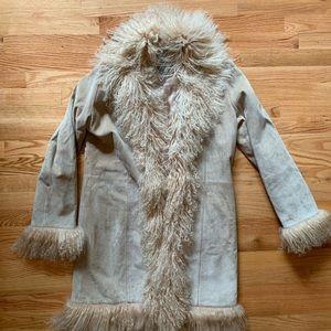 Marvin Richards Suede Leather Faux Fur Trim Coat